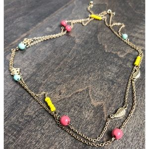Old Navy gold necklace with colorful beads